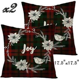 Set- 2 Christmas Joy Throw Pillow Covers